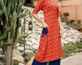 "INDIAN KURTI / KURTA | All Cotton Kurti/ Kurta/ Tunic/ Top/ Blouse, Size L(40""),  Ikkat,  Ethnic, Chic, Indian Ethnic wear"