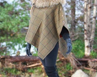 Lovat Tweed Cape / Poncho / Wrap with detachable faux fur collar