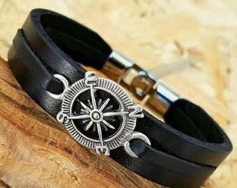 Gift for Man bracelets Compass Bracelet Leather Men Bracelets Leather Bracelet Gift for Anniversary Gift