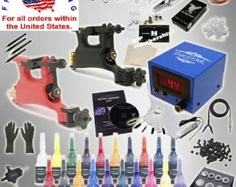Brand New Complete Tattoo Kit Professional Inkstar 2 Machine ROTARY Set GUN 20 Colors Ink