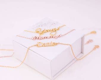 Custom Name Gold Bracelet ∙ Personalized Name Bracelet ∙ Handwriting Bracelet ∙ Signature Bracelet ∙ Valentine Days Gift for her # BCNC001