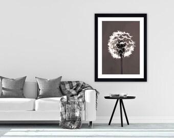 Dandelion print scandinavian print monochrome print black and white print scandi print minimalist art minimalist print monochrome print