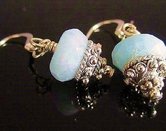 Natural  Aquamarine Sterling Silver Earrings