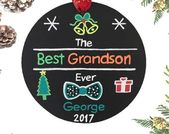 Grandson Personalized Christmas Ornament, Family Christmas Ornament, Grandson Gift, Christmas Tree Ornament, Free Burlap Bag
