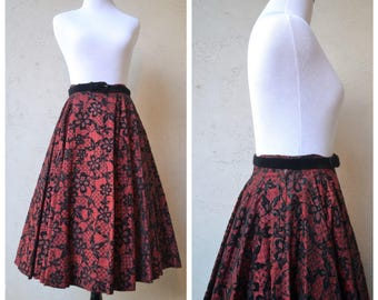 1950's vintage skirt | Red w/ black velvet floral pattern | Pleated skirt, 50's full skirt, Circle skirt, 1950's circle skirt, Velvet skirt
