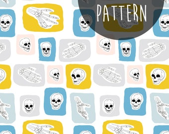 Digital Download, Printable Paper Craft, Skull Pattern, Skeleton Hand, Modern Scrapbook, Patterned Paper, Skull Printable, Cool Designs.