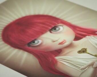 Digital Illustration  Fine Art Archival Glicèe Print signed numbered CRYSTAL lowbrow pop surrealism big eyes