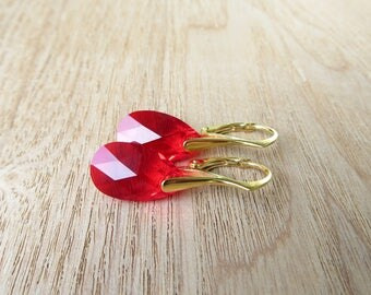 Red Swarovski Crystal Earrings with Yellow Gold Filled Earwires,