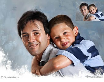 Father son portrait painting