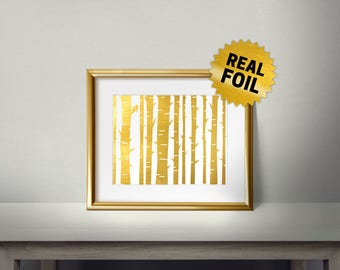 Forest wall art, Tree Trunk, Real Gold Foil Print, Home Decor, Foil Art, Handmade Print, Gold Wall Art, Bathroom wall decor