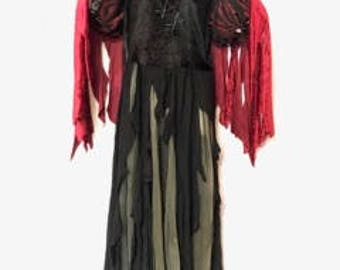 Women's Goth LG Costume Vampire Witch Walking Dead Black Red Gray Lace Bodice Red Velvet Detachable Cape Stud Trim Sleeves Shredded Bottom