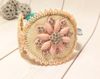 Fairytale Clothing gift Beige Cuff bead bracelet Jewelry Beadwork Unisex bracelet Original Beauty cuff jewelry Leather bead wrap cuff Women