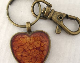 Painted Heart Pendant Keychain