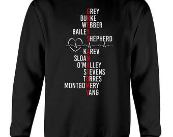 Grey's anatomy cast sweatshirt, grey's anatomy, greys anatomy gifts, greys anatomy merchandise, meredith grey, greys anatomy sweatshirt