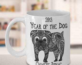 Chinese Zodiac Gifts, 2018 Year of the Dog, Chinese Zodiac Gift Mug for Dog Lovers