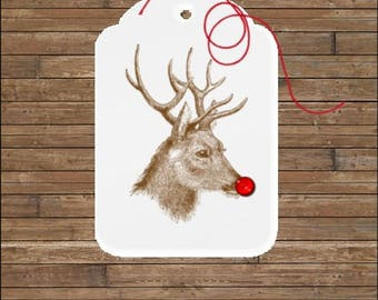 Personalized Christmas Tags - Reindeer Tags - Holiday Gift Tags - RudolphTags