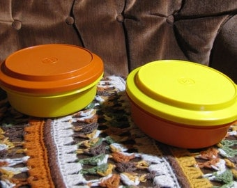"Vintage Pair of Seal N Serve Camping Tupperware Bowls (6.5"" diameter) and Plates that are Lids (7"" diameter) circa 1980s"