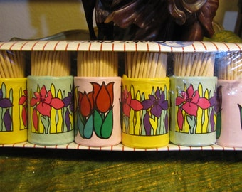 NOS Vintage Set of 6 Decorative Toothpicks w Holders circa late 1960s to early 1970s - in the Original Packaging!