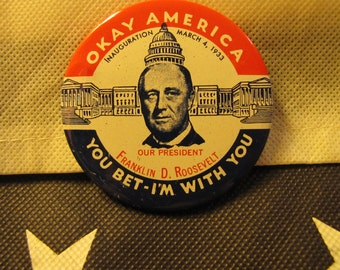 Vintage Political Campaign Button made by Kleenex Tissues in 1968 Roosevelt FDR