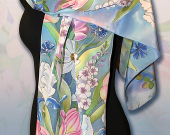 Floral Silk Scarf, Blue Green Flowers scarf handpainted, Silk Scarf Painted, Unique Gift for her Wedding silk scarf, Shawl