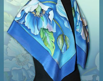 Silk scarf Hand painted silk Floral shawl Handpainted scarves Women scarf Birthday gift for her Luxury Scarf for Wife Silk Summer shawl