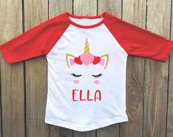 Girls Valentines Day Shirt, Unicorn Shirt, Valentines Shirt, Valentines Day  Shirt For Girls