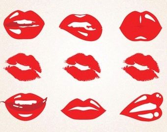 9 x Red Lips Clipart/ Red Lipstick Clipart/Glossy Lips /SVG,png 300 ppi,jpg,eps/Instant Download/Digital File/Printable