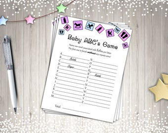 Baby Shower Games, ABC Baby Game, Printable Baby Shower Game,  Digital Baby Shower Games
