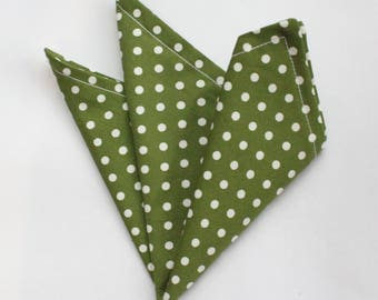 Hankie Pocket Square Handkerchief Green / White POLKA DOT.Premium Cotton UK Made
