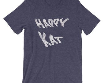 Happy Kat distressed cotton Spartees Short-Sleeve Unisex T-Shirt