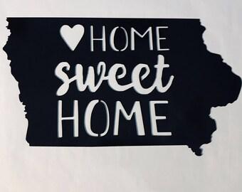 Iowa-Home Sweet Home Metal Home Decor