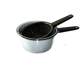 Two Vintage Enamel Pots Grey and Black