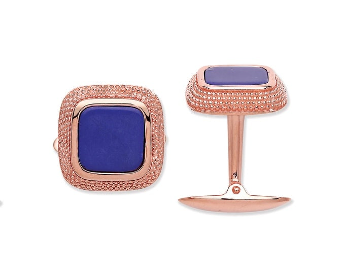 Rose Gold On Sterling Silver Blue Cushion Lapis Cufflinks Hallmarked