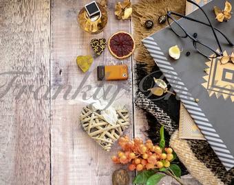 Black & Orange Winter Styled Stock Photo on Wooden Backdrop / Lifestyle Stock Image / Styled Stock Photography / Frankly Photos File #17