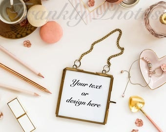 Instagram Square / Gold Frame Stock Photo / Frame Mockup / Product Mockup / Desk Styled Photography / Flatlay / Frankly Photos File #36sq