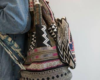 Canvas Backpack, Aztec Bag, Travel Bag, Patchwork Canvas Bag, Foldable Backpack, Canvas Rucksack, Compact Foldaway Bag, Overnight Laptop Bag