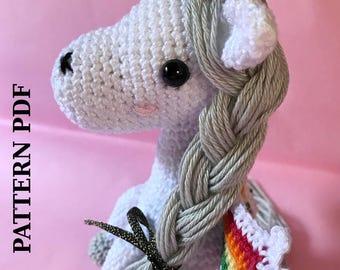 CROCHET AMIGURUMI PATTERN: Victoria, the unicorn rainbow maker