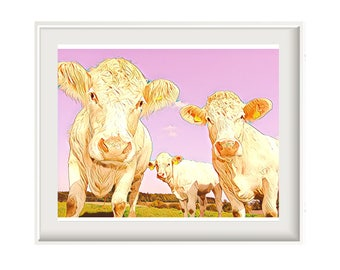 Pink Cow Print - Cows Print - Instant Download - Printable Art - Cow Art - Farm Print - Child Bedroom Decor