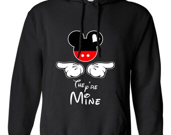 Mickey Mouse They're Mine Mickey Head Design Clothing Adult Unisex Hoodie Hooded Sweatshirt Best Seller Designed Hoodies for Men and Women