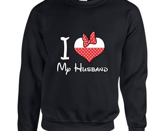 I Love My Husband Minnie Mouse  Couple Goals Clothing Adult Unisex Sweatshirt Printed Crew Neck Sweater for Women and Men