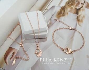 Rose Gold Hamsa Jewelry Gift Set includes Hamsa Hand Bracelet and Hamsa Hand Necklace