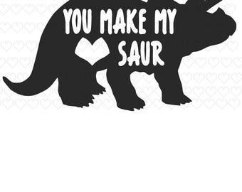 Dinosaur Valentine SVG Boys / Girls Valentine SVG You make my heart Saur PNG V-Day Dino