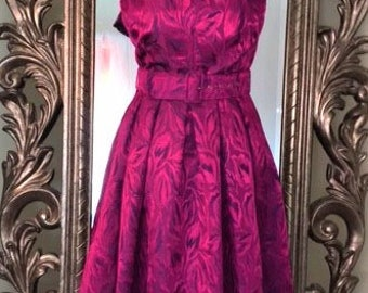 Vintage 80's Does 50's Evening Dress by Richards.UK Size 8-10, USA Size 4-6. Gorgeous Cerise Jaquard Foral Textured Satin with Petticoat