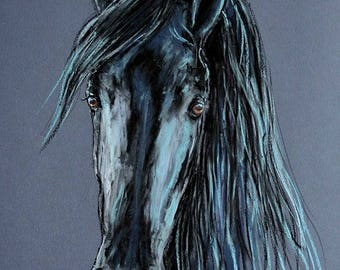 Black Andalusian Stallion Horse Original Oil Pastel Painting