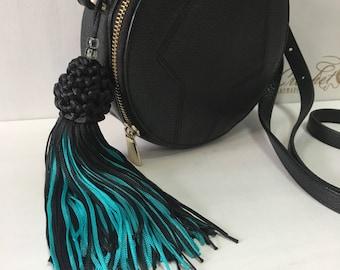 Boho tassel Keychain for purse, backpack, handbag, Blue black fringe tassel accessory, gift for mother, spring accessory, Boho pendant,