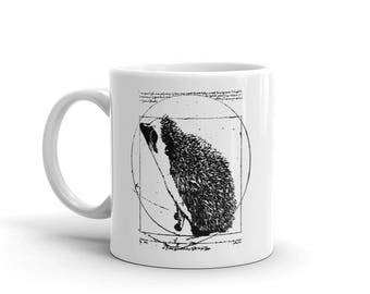 Hedgehog Mug: Da Vinci's Vitruvian Hedgehog | Funny Art Lover Gift | Custom Ceramic Mug  Hedgehogs A Pricklepants Original by Urchin Wear
