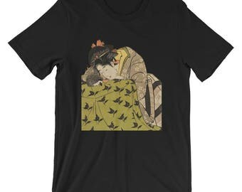 "Japanese Hedgehog Art Shirt: Utagawa Kunimasa's 1803 ""Woman with Hedgehog"" Ukiyo-e Style Hedgehog Pricklepants Art Shirt By Urchin Wear"