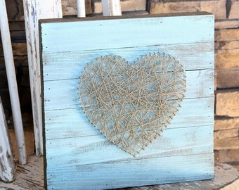 Heart String Art Sign, Home Decor, Homemade Sign, Wall Hanging, Rustic Wooden Sign, Wall Decoration, Heart Sign, Homemade Decoration