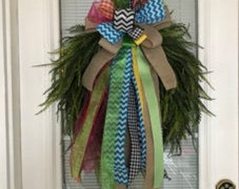 Easter Grass Wreath with colorful large bow