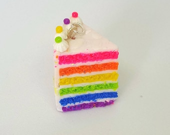 Neon Rainbow cake tiny food polymer clay charm